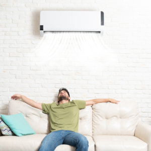 Man relaxing with Air conditioning on